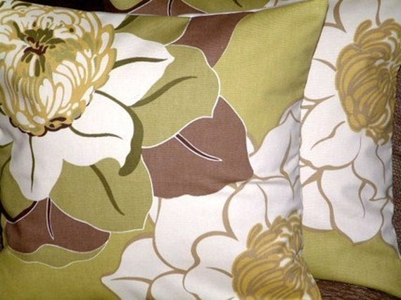 Pair Handmade New Contemporary Modern 18 inch Green Brown Cream Flower Cotton Print Design Designer Funky Cushion Covers,Pillow cases,Pillow Covers,Throw Pillows