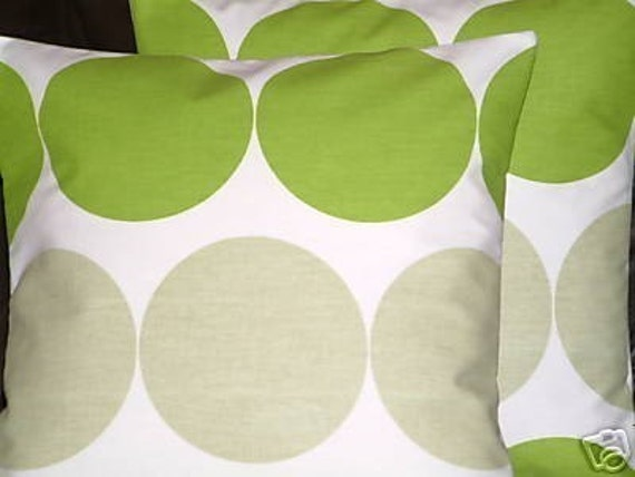 2 New 18 inch Handmade Contemporary Cotton Green Light Brown Spot Funky Designer Retro Pillow Covers, Pillow Cases, Cushion Covers,Pillows,Slips,Throw Pillows