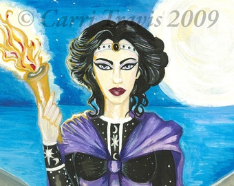 Witch Goddess 8x10 Print  Greek  Hekate  Dogs  Greyhounds  Hellhounds  fantasy  pagan  moon  night  earth ocean