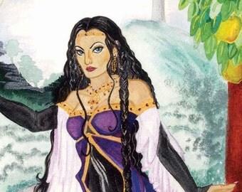 Morgan le Fey ORIGINAL PAINTING  Camelot  Fairy Queen  Celtic  Legend Witch Folklore Magic King Arthur Fantasy
