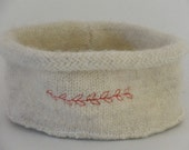 Felted Wool Sweater Bowl w\/ Leaves Red Embroidery