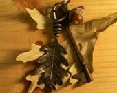 RESERVED FOR TheSnowshoeLoft - Steel Oak Leaf Charm