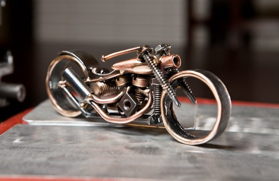 Copper and Steel Panhead Bobber Motorcycle Sculpture