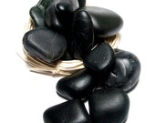 "Undrilled Black Beach Stones Set - Big Lot - Jewelry diy - Crafts - Medi Spa Therapy - Zen - ""Strewth"" by StoneMe"
