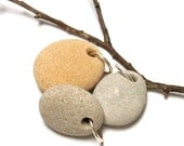 "Pebbles Beach Stones - Layer Pendants - Michigan River Rocks - diy Jewelry Beads - ""Fuzzy Navel"" by StoneMe"