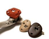 """Autumn Pebbles Genuine Drilled Beach Stones - Focal Jewelry Connector Beads - Eco Organic - """"Fall In Love"""" by StoneMe"""