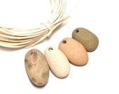"""Drilled Stones - Genuine Drilled Pebbles - Petoskey Fossil Combo - Natural jewelry Supplies diy - """"Surf Shop"""" by StoneMe"""