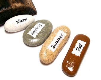 Cottage Art Home Decor Beach Stones Pocket Pebbles 4 SEASONS Genuine River Rock Decorative Paper Weight Zen Eco Friendly Gift Accent SEASONS
