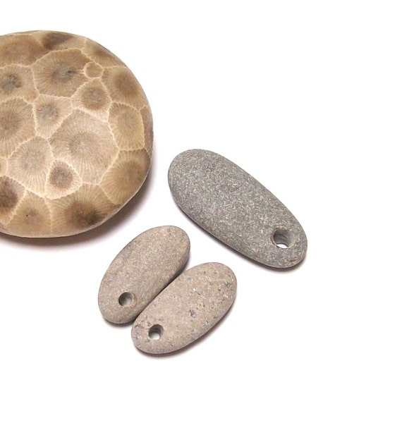 SLENDER GREY - Genuine Drilled Beach Stones Set - focal jewelry beads