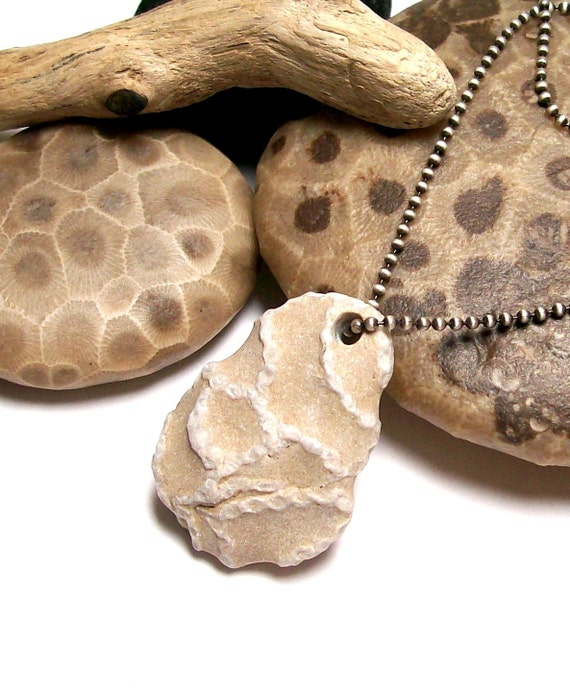 Ahoy - Genuine Drilled Beach Stone - Extremely Rare Fossil Chain Coral - pendant bead