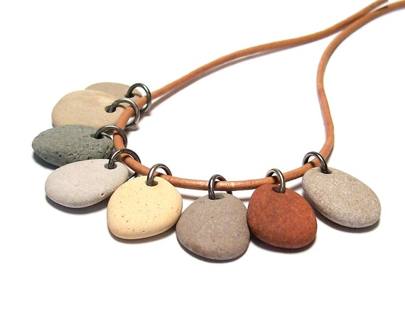 """Michigan Stones Beach Pebbles Drilled for Jewelry Making - River Rock - """"Aspen""""  by StoneMe"""