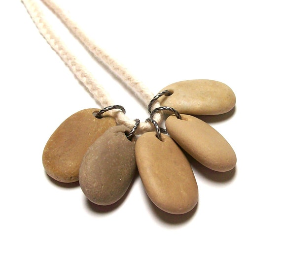 "Drilled Beach Stones Pebbles for Jewelry Pendants - Coffee & Cream Shades - ""Cappuccino"" by StoneMe"
