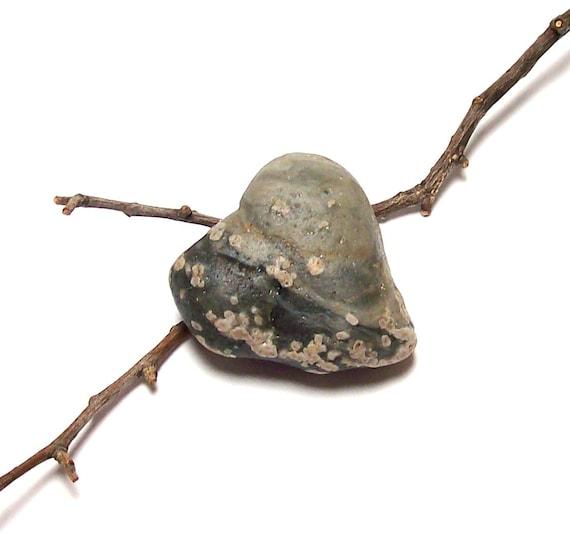 "Sea Beach Stone Pebble Slag Glass Heart Rock - Genuine UNdrilled - ""Beach Love"" by StoneMe"