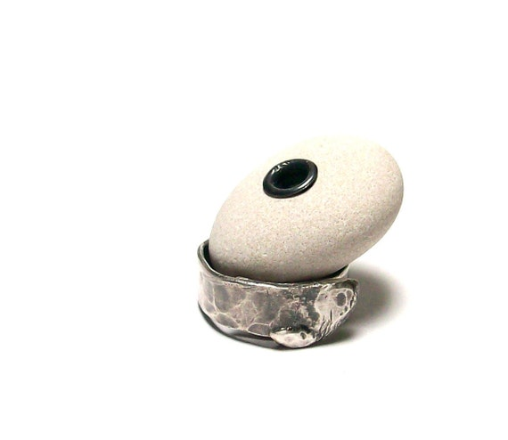 "Riveted Beach Stone - Genuine Drilled Pebble - Lake Rock Wheel Donut Jewelry Bead - ""Purity"" by StoneMe"
