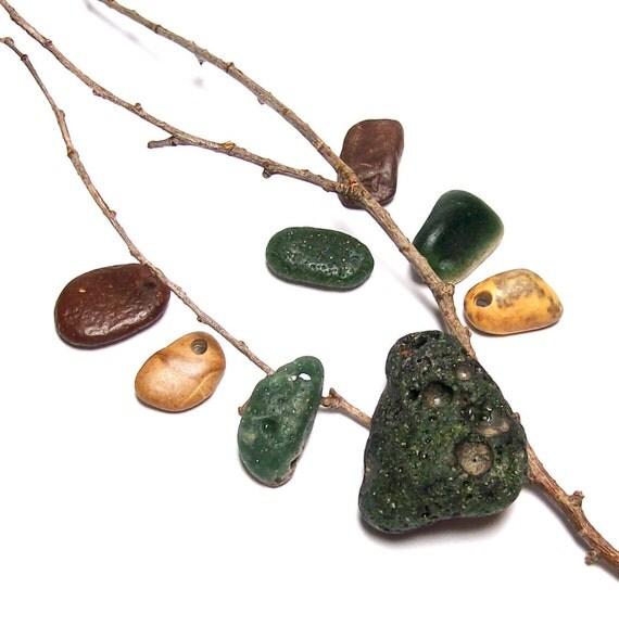"Jasper Gem Beach Stones Sea Glass Supplies - Genuine Drilled Slag Glass - diy beads - ""Ho Ho Ho"" by StoneMe"
