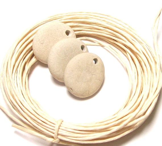 """Genuine Drilled Beach Stones - Large Michigan Pebbles - diy Jewelry Beads """"Butter Cookies"""" by StoneMe"""