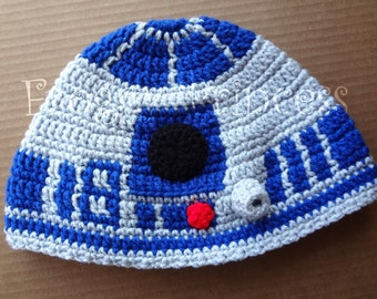 Star Wars Inspired R2-D2 Hat Adult or Teen Size Hand Crocheted
