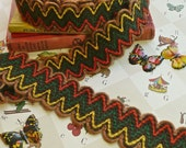 Vintage 1970s Zig Zag Cotton Yarn Ribbon Trim in Beige, Yellow, Orange, and Green - RESERVED for ibukit