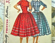 1950s Womens Dress Pattern with Drop Waist and Full Skirt - Simplicity 4996