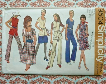 Vintage 1970s Womens Dress Pattern with Tunic, Vest, Mini Skirt, and Pants - Simplicity 9504