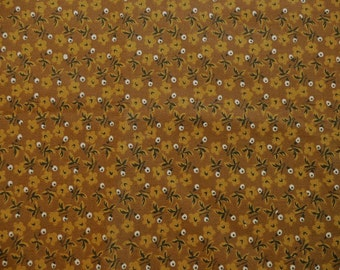 Chocolate Brown Cotton Fabric with Small Tan and Black Flowers and Dots