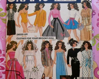 Vintage 1980s Brooke Shield Doll Wardrobe Pattern - McCalls 8727