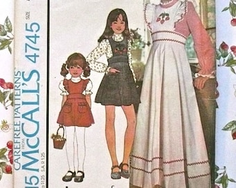 Vintage 1970s Girls Pinafore Dress Pattern with Blouse - McCalls 4745
