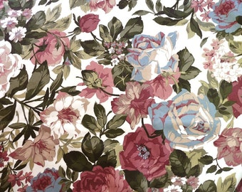 Polished Cotton Upholstery Fabric with Dusty Pink, Cream, Moss Green, and Beige Cottage Garden Flowers