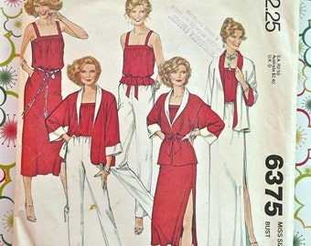 Vintage 1970s Womens Wardrobe Pattern for Reversible Jacket, Camisole Blouse, - McCalls 6375