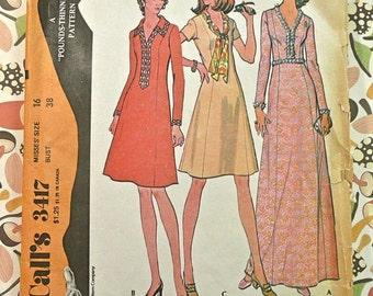 Vintage 1970s Womens Dress Pattern - McCalls 3417