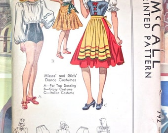 Vintage 1940s Womens Costume Pattern - Tap Dance, Gypsy, Italian Peasant - McCall 792