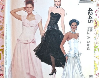 Vintage 1980s Womens Dress Pattern with Dropped Waist and Asymmetrical Full Skirt - McCalls 4245