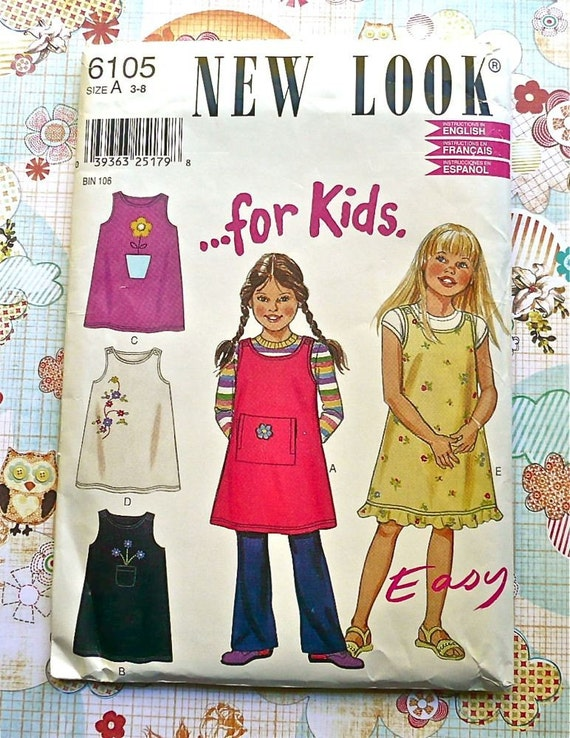 Girls Jumper or Dress with Optional Applique Pattern - New Look 6105