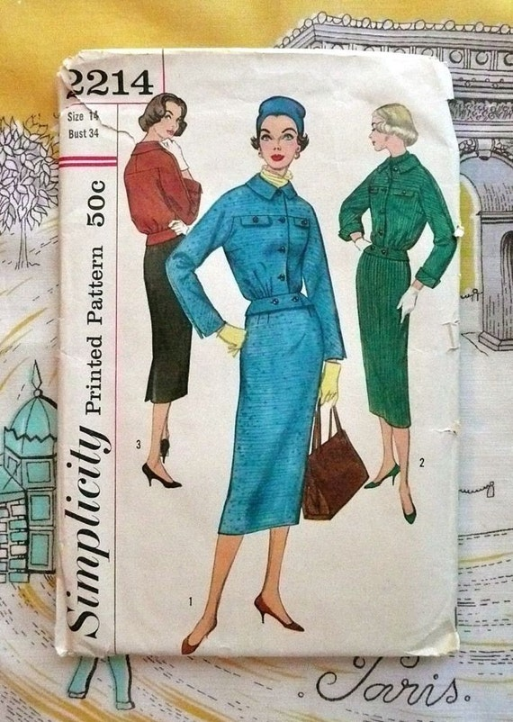 Simplicity 2214 - Vintage 1950s Womens Suit Pattern with Blouson Jacket and Fitted Slim Skirt