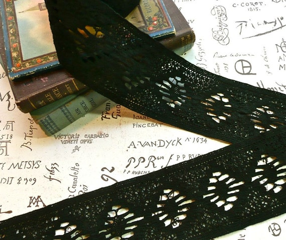 Vintage Black Cotton Crocheted Wide Double-Edge Lace Trim - Reserved for jindabon