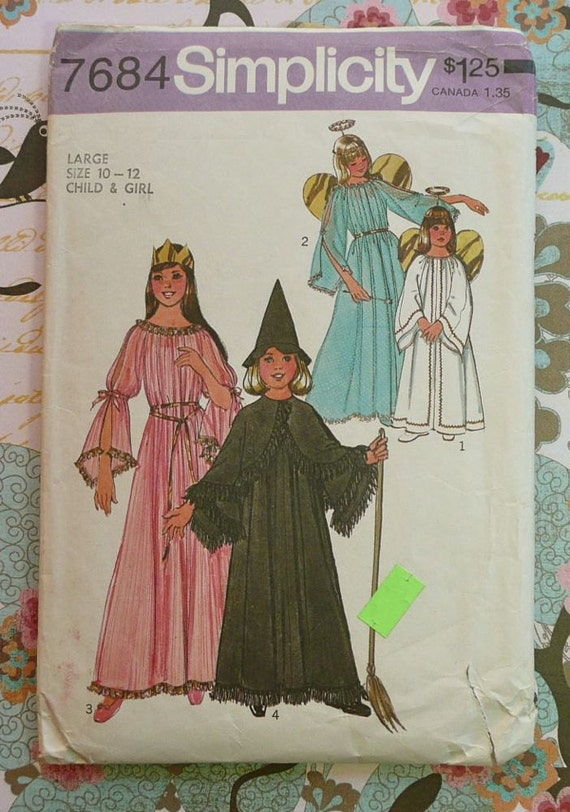Simplicity 7684 -Vintage 1970s Girls Costume Pattern with Angel, Fairy, Witch, and Princess