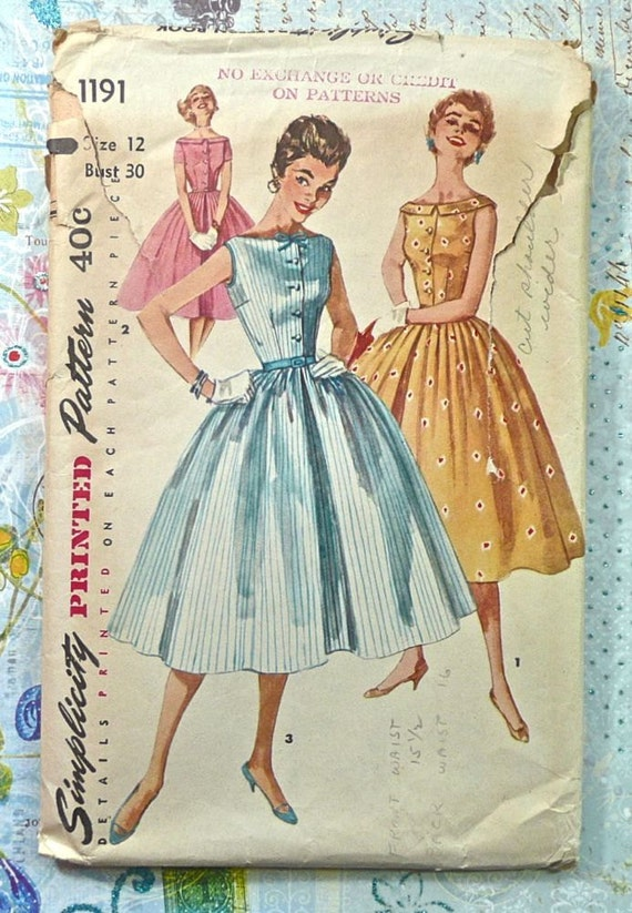 Simplicity 1191 - Vintage 1950s Womens Dress Pattern with  Bateau Neckline, Full Skirt