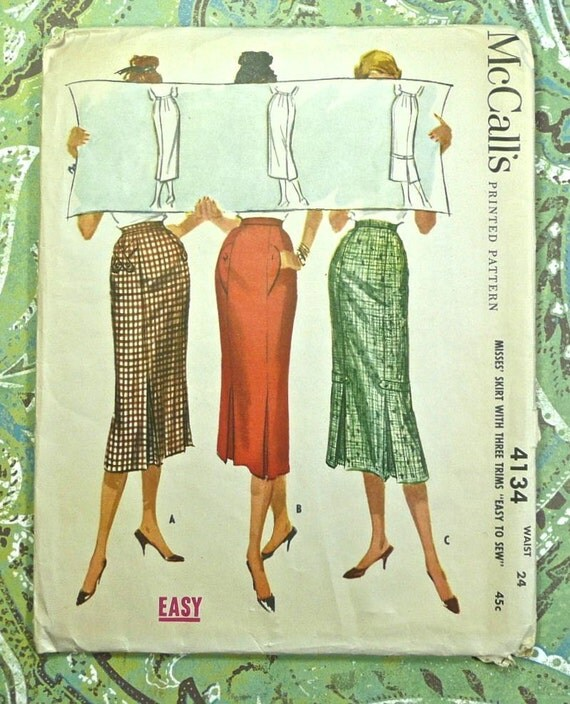 vintage 1950s womens slim kick pleat skirt pattern mccalls