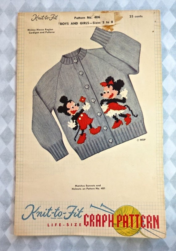 Vintage 1950s Mickey Mouse Sweater Knitting Pattern with