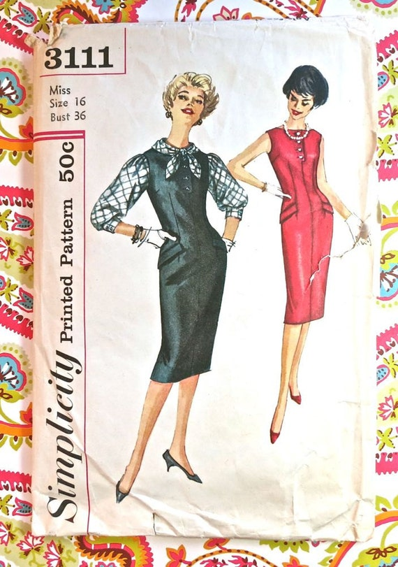 Simplicity 3111 - Vintage 1950s Womens Dress Pattern with Jumper and Blouse