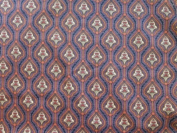 Cotton Fabric Yardage - Indian-Style Pattern  in Navy Blue, Burgundy Red, and Tan