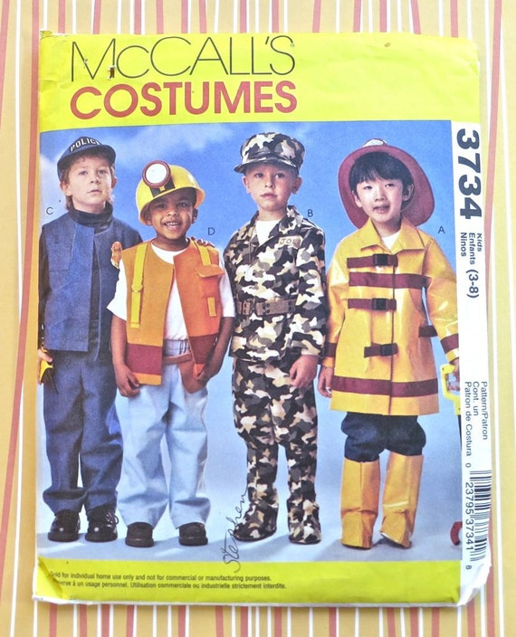 Childrens and Boys Policeman, Fireman, Armed Forces, and Construction Worker Costume Pattern - McCalls 3734