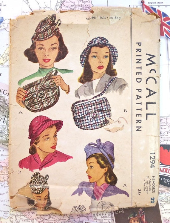 Vintage 1940s Womens Hats and Purse Pattern - McCall 1294