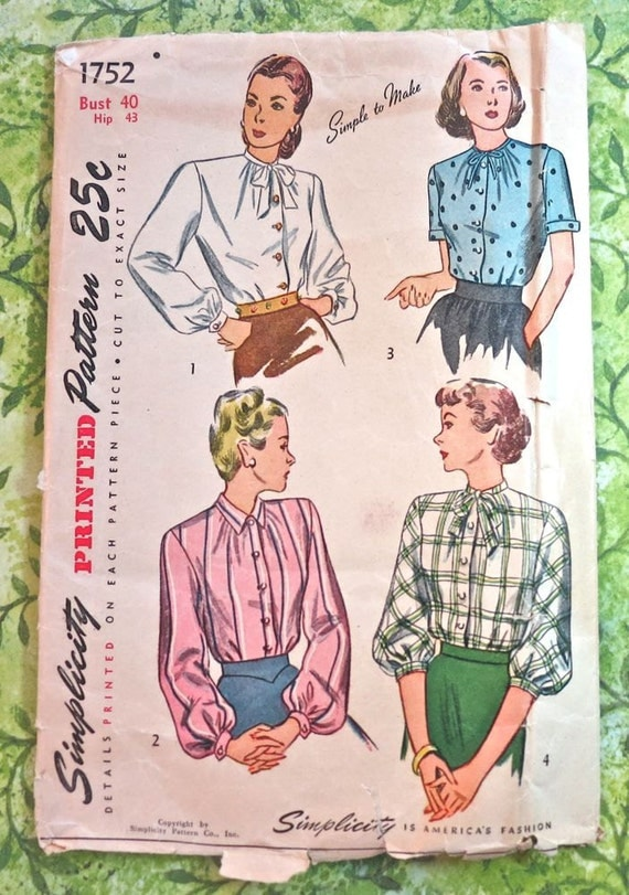 Vintage 1940s Womens Blouse Pattern with Sleeve Variations - Simplicity 1752
