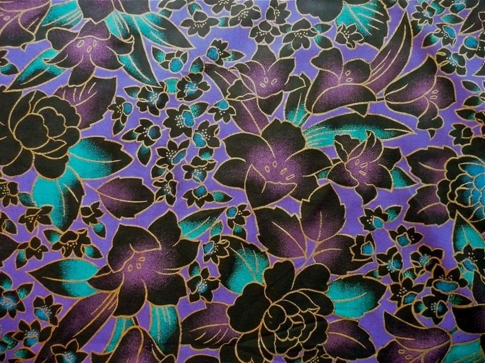 Tropical Floral Cotton Print Fabric Yardage In Purple Black