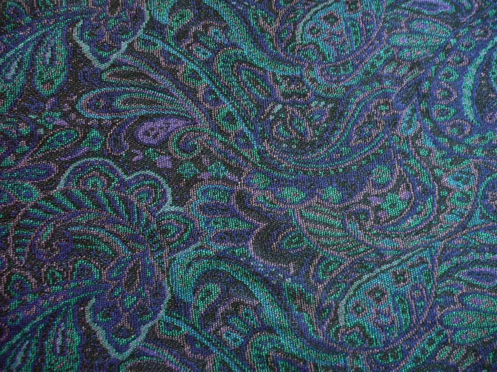 Vintage Paisley Wool Knit Fabric Yardage In Dark Navy Teal