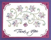 Floral Flower Vine Embroidery Pattern for Greeting Cards