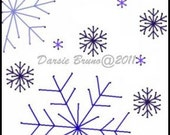 Snowflakes Snowfall Winter Christmas Embroidery Pattern for Greeting Cards