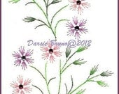 Spring Flowers and Leaves Embroidery Pattern for Greeting Cards