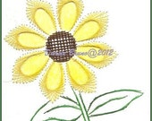 Sunflower Floral Embroidery Pattern for Greeting Cards